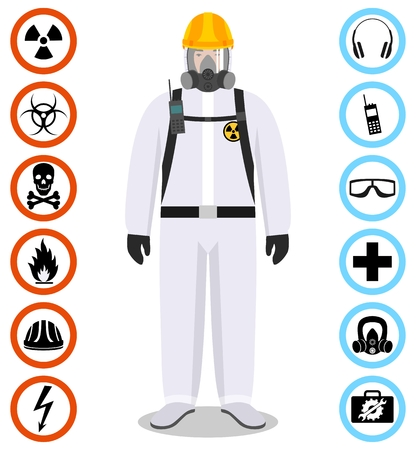 Industry concept. Detailed illustration of worker in white protective suit. Safety and health vector icons. Set of signs: chemical, radioactive, dangerous, toxic, poisonous, hazardous substances.