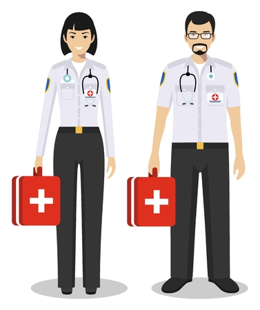 Medical teamwork concept. Detailed illustration couple of paramedic man and woman, emergency doctor, nurse in flat style on white background. Practitioner doctors standing together. Иллюстрация