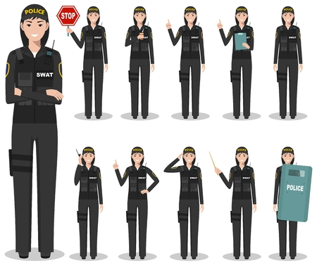 Set of different detailed illustration of american SWAT officer, policewoman and sheriff standing in different positions in flat style on white background. Police USA concept. Vector illustration. Illusztráció