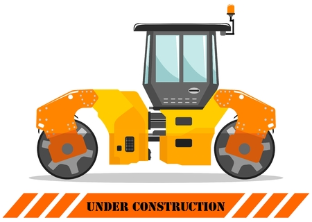 Detailed illustration of compactor. Heavy construction equipment and machinery. Vector illustration. Çizim