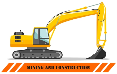 Detailed illustration of excavator. Heavy mining machine equipmente and construction machinery. Vector illustration. Illusztráció