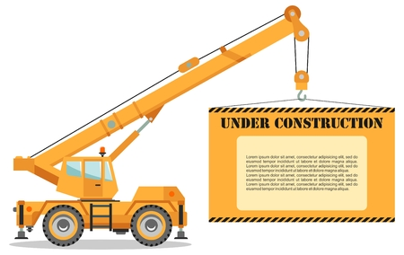 Detailed illustration of colored crane truck with board. Heavy construction equipment and machinery. Vector illustration.