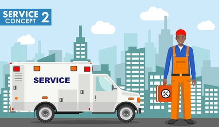 Repair service concept. Detailed illustration of master repairer and service car on background with cityscape in flat style.. Vector illustration.
