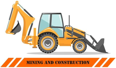 Detailed illustration of backhoe loader. Heavy mining machine equipmente and construction machinery. Vector illustration. Imagens - 124866109