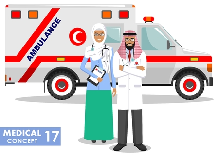 Detailed illustration muslim car ambulance and arabian paramedic man, emergency doctor, nurse in a flat style on a white background. Vector illustration. Illusztráció