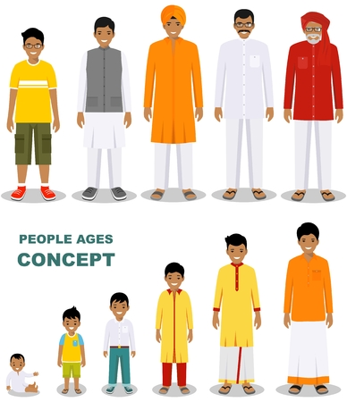 East people generations at different ages isolated on white background in flat style. Indian man aging: baby, child, teenager, young, adult, old people. Vector illustration.