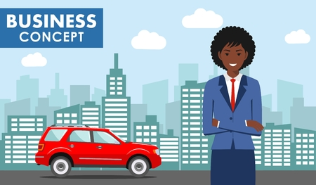 Business concept. Detailed illustration of young african american businesswoman on background with red car and cityscape in flat style. Vector illustration. Vettoriali