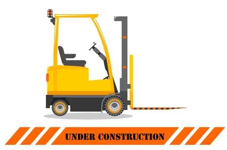Detailed illustration of forklift. Heavy construction machine. Heavy equipment and machinery. Vector illustration. Illusztráció