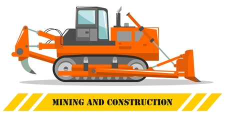 Detailed illustration of dozer. Bulldozer. Heavy mining machine equipmente and construction machinery. Vector illustration.