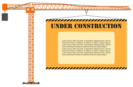 Detailed illustration of colored tower crane with board. Heavy equipment and machinery. Vector illustration.