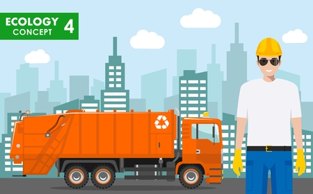 Detailed illustration of garbage collector and garbage truck on cityscape background in flat style.