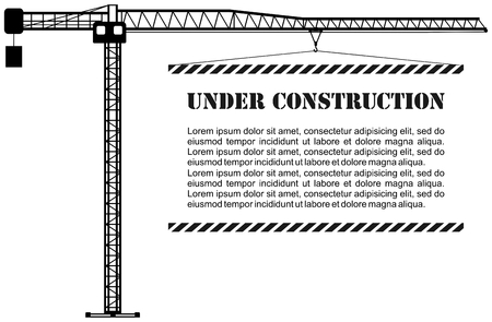 Silhouette illustration of black tower crane with board. Heavy equipment and machinery. Vector illustration.