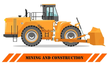Detailed illustration of wheel dozer. Bulldozer. Heavy mining machine equipmente and construction machinery. Vector illustration. 向量圖像