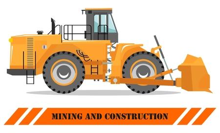Detailed illustration of wheel dozer. Bulldozer. Heavy mining machine equipmente and construction machinery. Vector illustration. Illustration