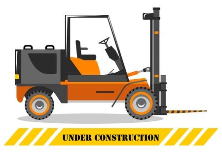 Szczegółowa ilustracja wózka widłowego. Ciężka maszyna budowlana. Ciężki sprzęt i maszyny. Ilustracja wektorowa.