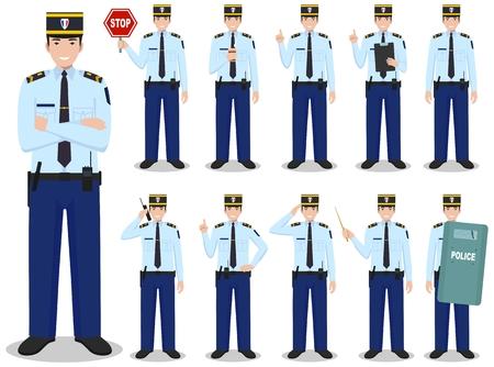 Set di diverse illustrazioni dettagliate del poliziotto francese in piedi in diverse posizioni in stile piatto su sfondo bianco. Illustrazione vettoriale. Carino e semplice in stile piatto. Vettoriali