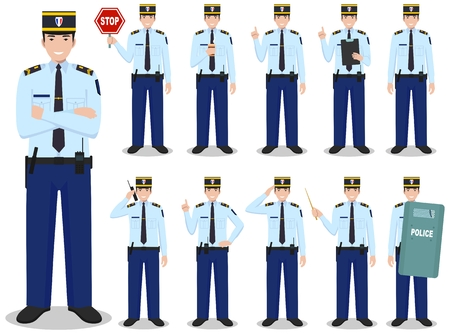 Set of different detailed illustration of french policeman standing in different positions in flat style on white background. Vector illustration. Cute and simple in flat style.