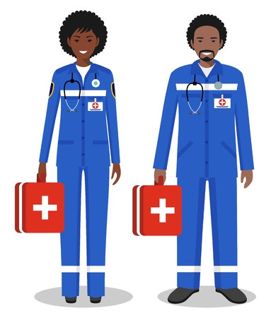 Medical concept. Couple of african american doctors man and woman standing together on white background in flat style. Flat design people characters. Vector illustration.