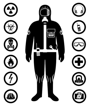 Man in protective suit in flat style. Dangerous profession. Occupational safety and health vector icons. Set of different signs of chemical, radioactive, toxic, poisonous, hazardous substances. Vector illustration.