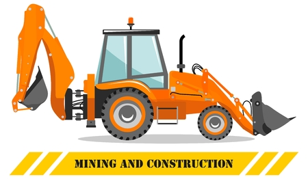 Detailed illustration of backhoe loader. Heavy mining machine equipmente and construction machinery. Vector illustration.