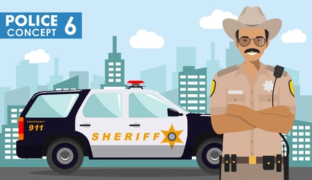 Police concept. Detailed illustration of police officer, sheriff and police car on background with cityscape in flat style. Vector illustration. Illusztráció