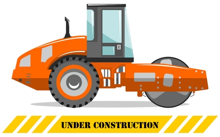 Detailed illustration of compactor. Heavy construction machine. Heavy equipment and machinery. Vector illustration.