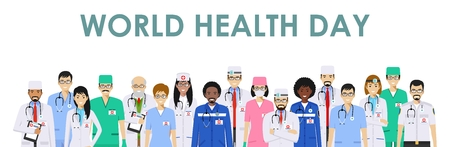 World Health Day. Medical concept. Detailed illustration of doctor and nurses in flat style isolated on white background. Practitioner doctors man and woman standing in different positions. Vector.