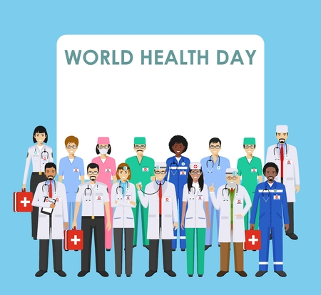 World Health Day concept. Detailed illustration of medical people in flat style isolated on blue background. Practitioner doctor and nurses standing in different positions. Vector illustration.