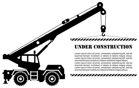 Detailed illustration of black building crane truck with board. Heavy construction equipment and machinery. Vector illustration.