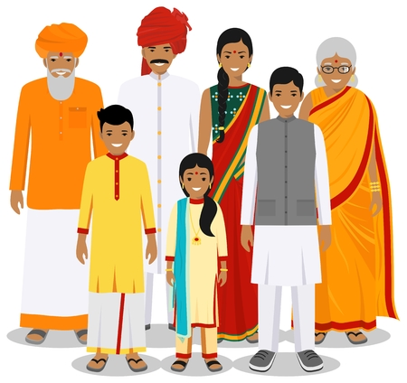 Family and social concept. Indian person generations at different ages. Set of people in traditional national clothes: grandmother, grandfather, father, mother, boy, girl standing together. Vector.