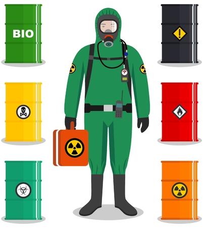 Concepto de industria. Ilustración detallada de trabajador en traje de protección. Barriles metálicos para petróleo, biocombustible, explosivos, químicos, radiactivos, tóxicos, peligrosos, peligrosos, inflamables y venenosos.