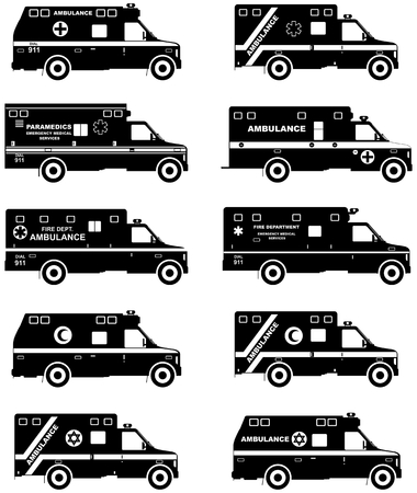 Medical concept. Set of different silhouettes jewish, muslim, american, european car ambulances isolated on white background in flat style. Vector illustration.