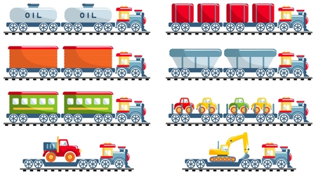 Different kind of toys railroad transportation. Set of different railway toys in flat cartoon style on white background: train, locomotive, wagon, cargo, cistern, platform. Vector illustration.