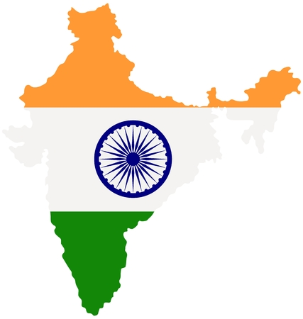 Map of India with indian national flag inside. Vector illustration. Illusztráció
