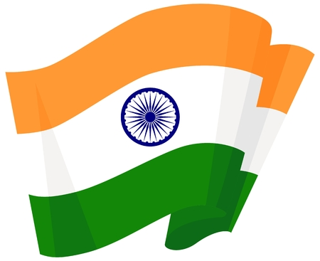 Indian national flag. India waving flag set of vector illustration. Orange white green of Indian wavy realistic flag as a patriotic symbol. Vector illustration.