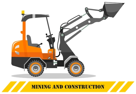 Detailed illustration of skid steer loader. Heavy mining machine equipmente and construction machinery. Vector illustration.