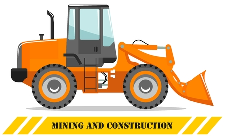 Detailed illustration of wheel loader. Heavy mining machine equipmente and construction machinery. Vector illustration. Illusztráció