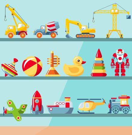 Childhood concept. Shop shelves with children toys set. Cabinet with different kids playthings for boys. Vector illustration.
