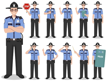 Set of different detailed illustration of american policeman, SWAT officer and sheriff standing in different positions in flat style on white background. Vector illustration.