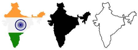 Map of India in different style: colored with indian national flag inside, black silhouette and contour. Vector illustration