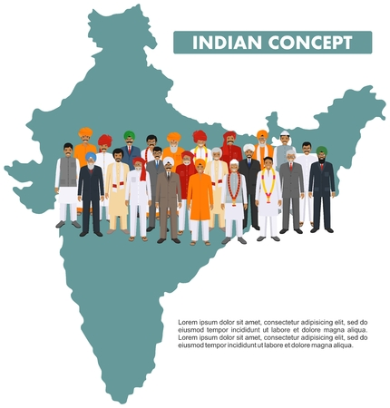 Family and social concept. Group indian young, adult and senior people standing together in different traditional national clothes on background with map of India in flat style. Vector illustration. 向量圖像