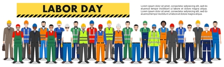 Labor day. Group of working people isolated on white background. Set of diverse worker, builder and engineer standing together in row. Different nationalities and uniforms. Illusztráció