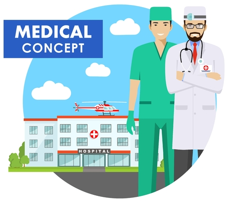 Medical concept. Detailed illustration of medical people in uniform on background with medical center and helicopter in flat style. Vector illustration.