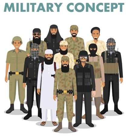 Concept militaire. Ensemble de différentes illustrations détaillées de soldats musulmans arabes en uniformes de camouflage debout ensemble dans un style plat sur fond blanc. Illustration vectorielle.