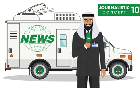 Detailed illustration of arabic journalist and TV or news car in flat style on white background. Vector illustration.
