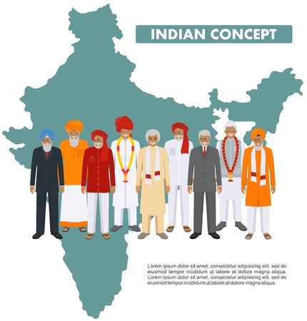 Family and social concept. Group indian adult and senior people standing together in different traditional national clothes on background with map of India in flat style. Vector illustration.