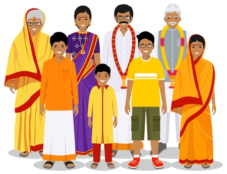 Family and social concept. Indian person generations at different ages. Set of people in traditional national clothes grandmother, grandfather, father, mother, boy, girl standing together. Vector illustration. Illusztráció