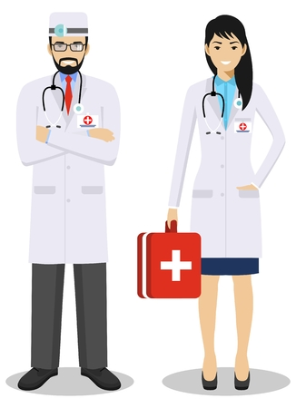Medical teamwork concept. Detailed illustration couple of paramedic man and woman, emergency doctor, nurse in flat style. Practitioner doctors standing together. Vector illustration. Illusztráció