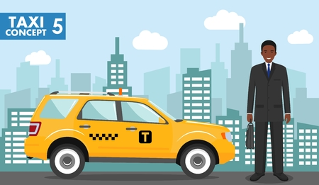 Taxi service concept. Detailed illustration of african american businessman on background with taxi and cityscape in flat style.