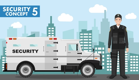 Detailed illustration of armored security car and security guard on background with cityscape in flat style. Vector illustration.